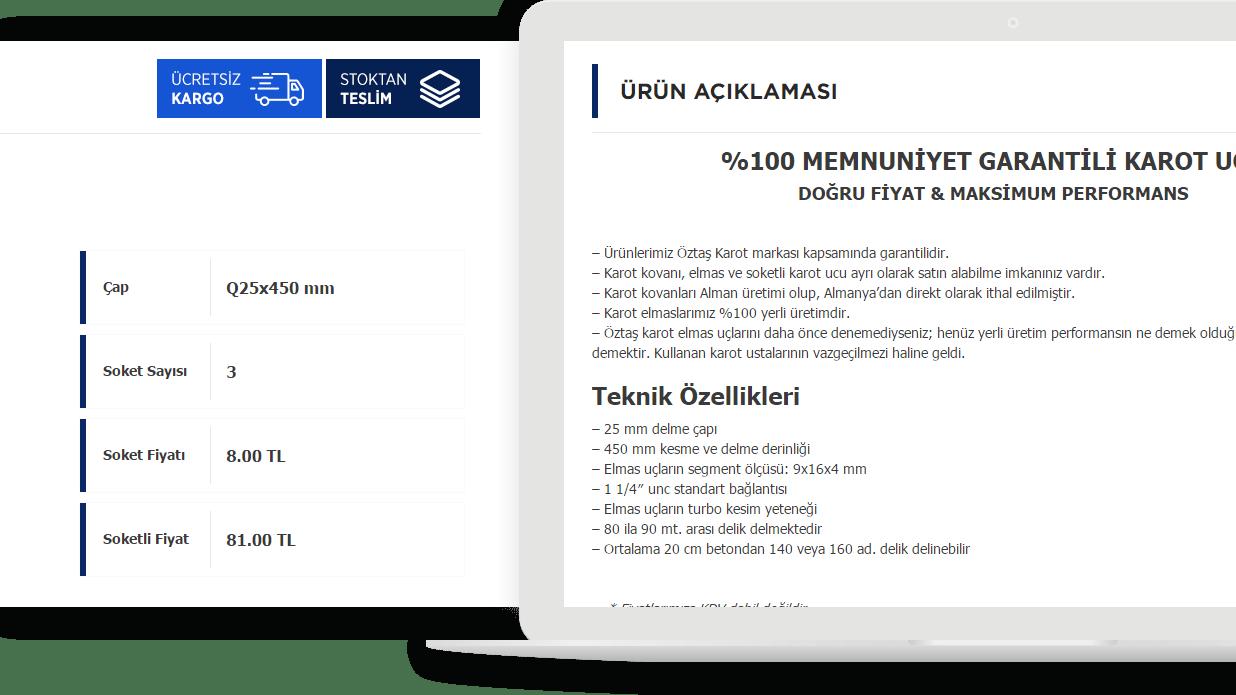 Laptopda ürün detay sayfası