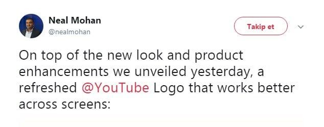 Neal Mohan'ın Yeni YouTube Logo Tweet'i
