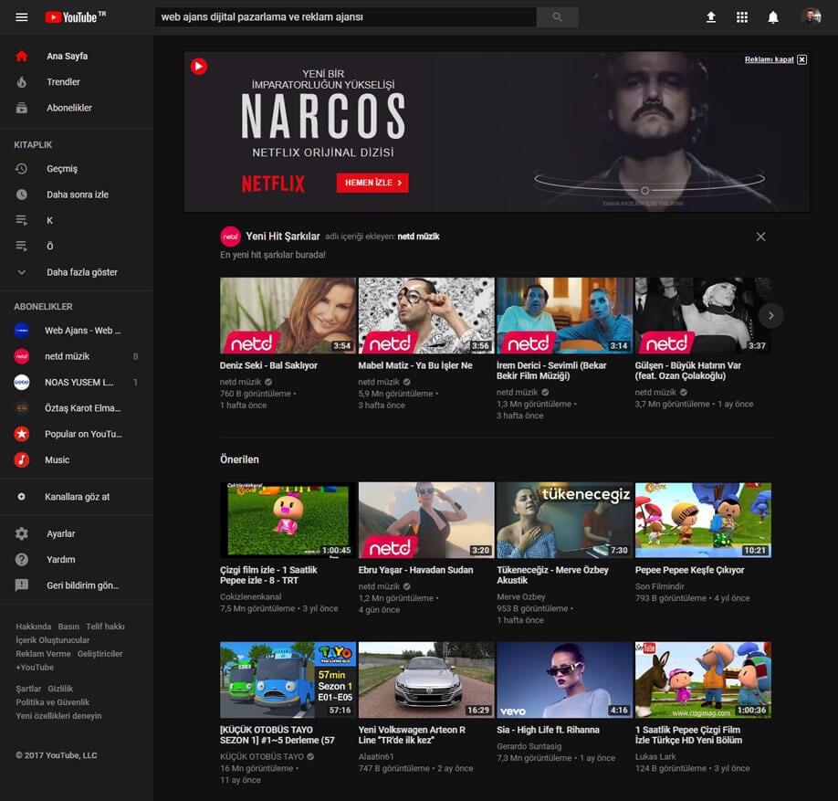 YouTube Yeni Gece Modu Görünümü