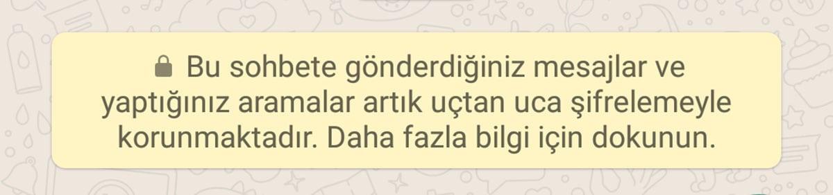 WhatsApp Uçtan Uca Şifreleme Sarı Mesaj