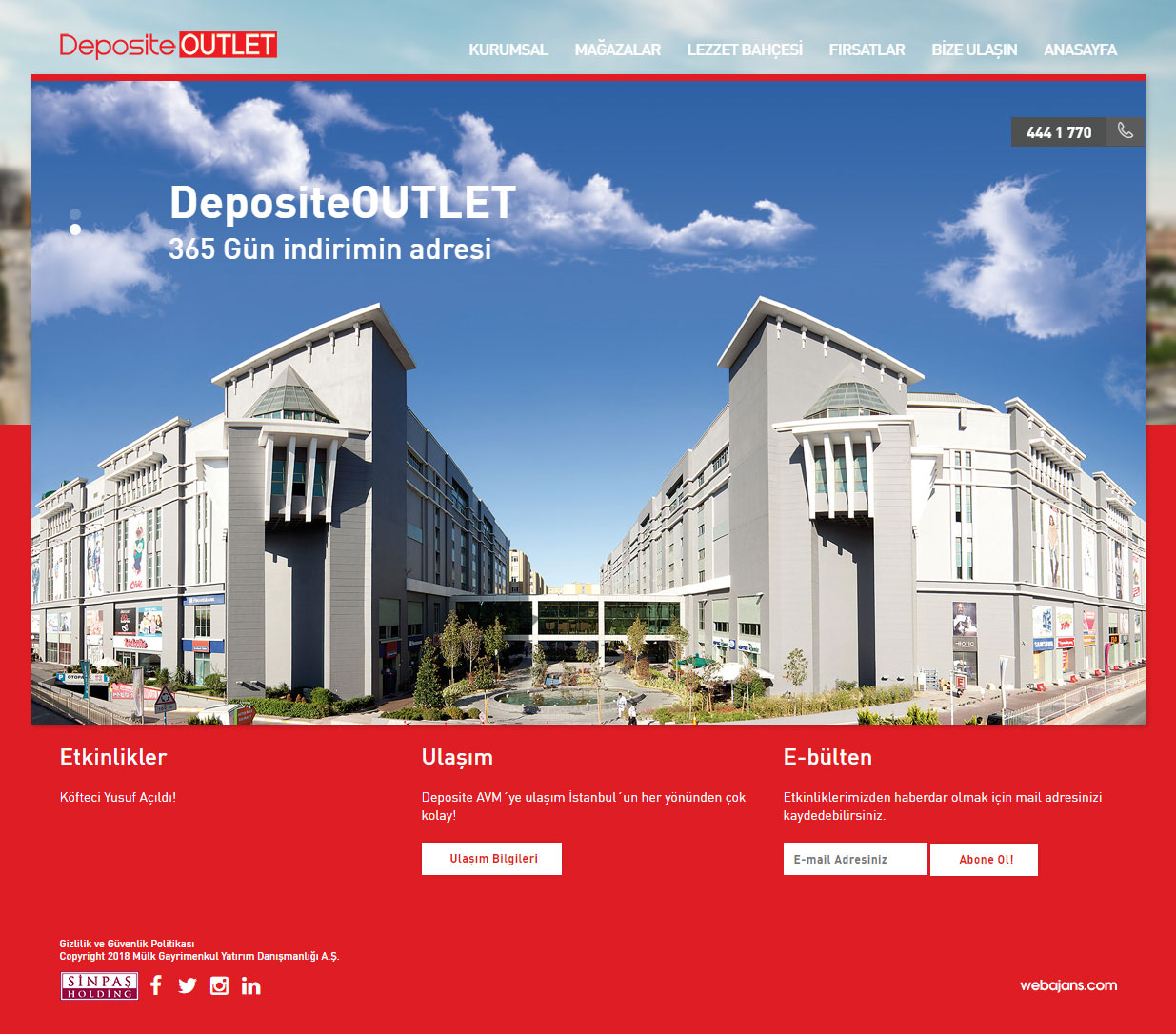 Deposite Outlet, Ana Sayfası