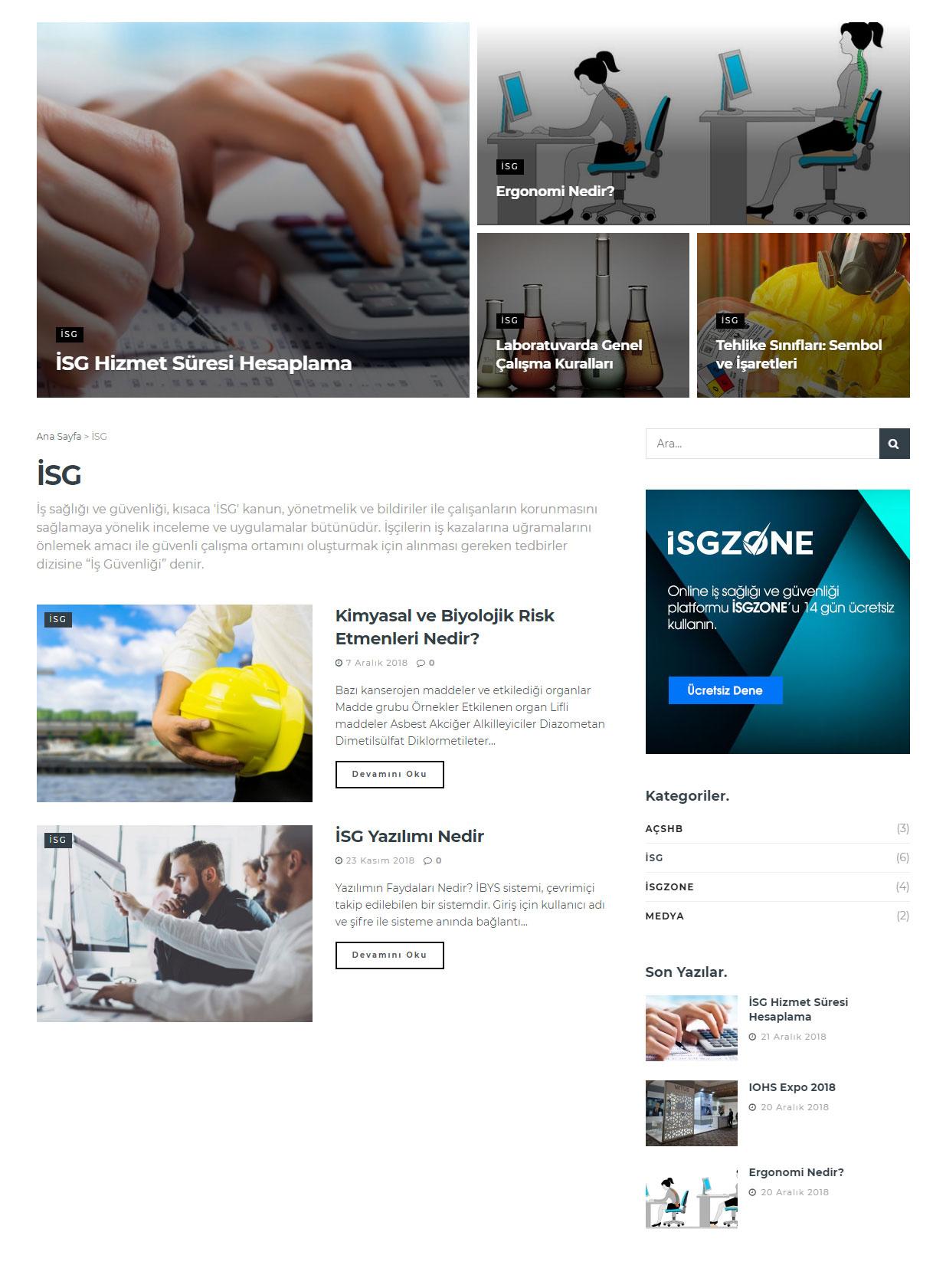 İSG, İş Sağlığı ve Güvenliği Kategori Sayfası