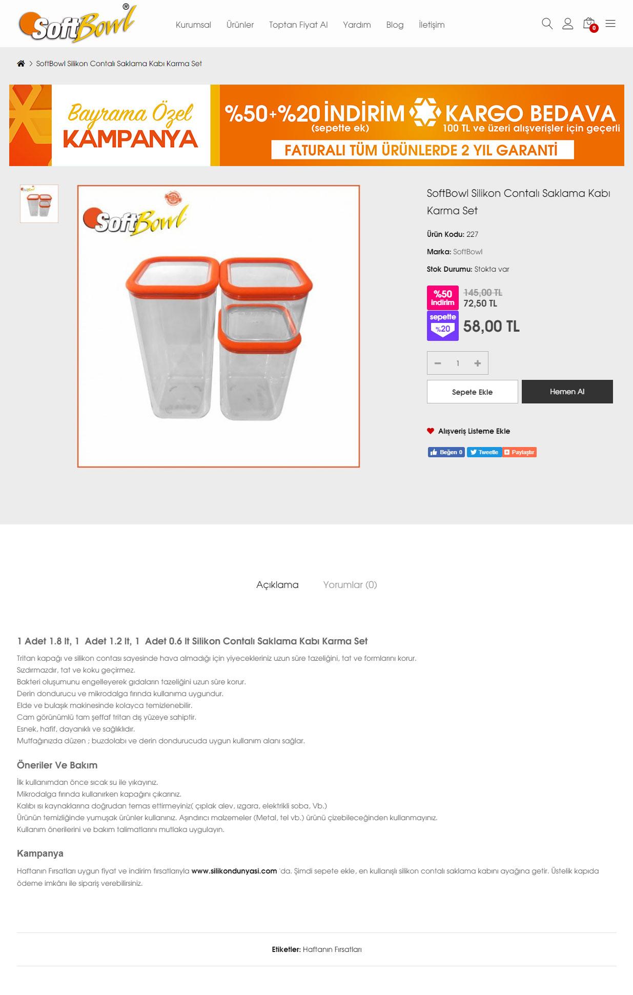 Ürün Detay Sayfası, Silikon Saklama Kapları
